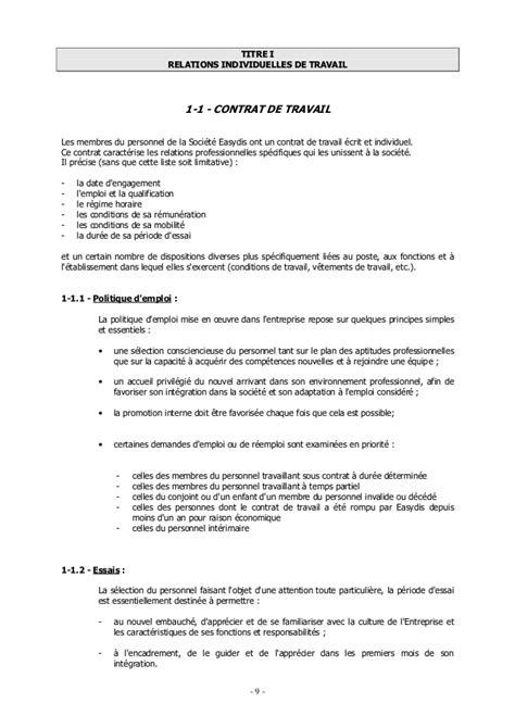 Modification Du Contrat De Travail En by Accord Entreprise Easydis 01 01 2004