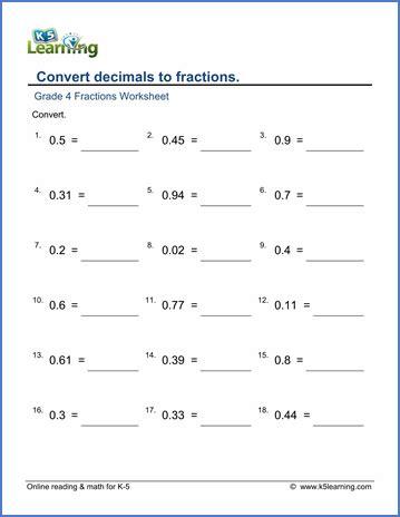 grade  fractions  decimals worksheet convert decimals