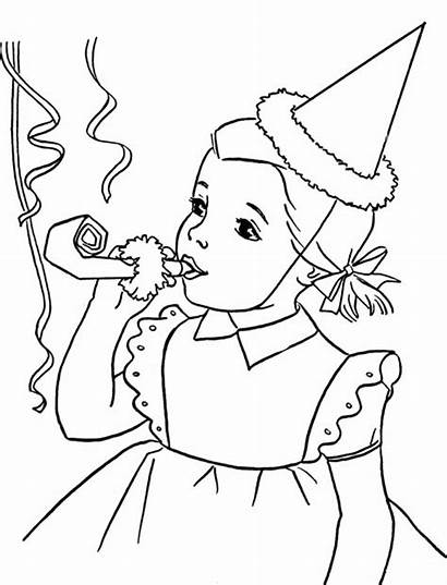 Coloring Happy Pages Birthday Blowing Horn Anniversary