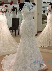 h1499 elegant halter high neck lace mermaid wedding dress With high neck halter wedding dress
