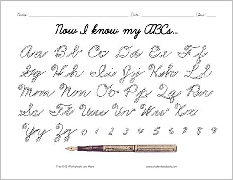 Cursive Script Alphabet With Arrows  Student Handouts