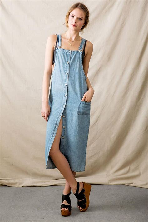 vintage midi denim overall dress outfitters