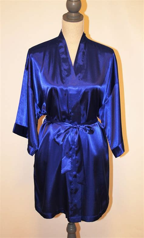 satin robe royal blue bride bridesmaid maid  honor