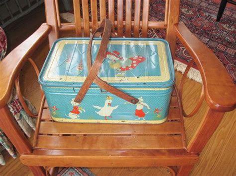 vintage metal picnic basket with oak handle ducks and