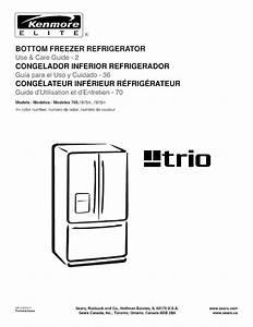 Kenmore Elite 79578752800 User Manual Refrigerator Manuals