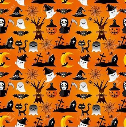 Halloween Pattern Wallpapers Phone Cartoon Seamless Vector