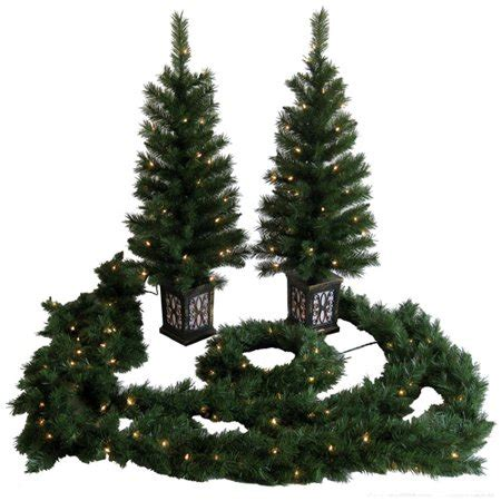 pre decorated trees walmart time pre lit 5 entryway set clear lights