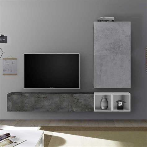 composition murale tv industrielle meuble mural mur tele muraem