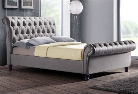 Grey Fabric Bed With Mattress by Birlea Furniture Upholstered Beds Buttoned