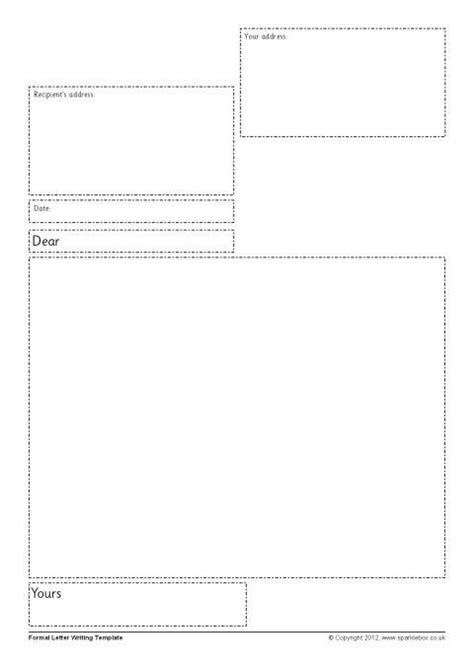 formal letter writing frames sb sparklebox