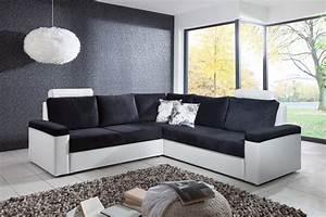 Canapé Blanc Tissu : canap d 39 angle convertible design en tissu coloris blanc ~ Premium-room.com Idées de Décoration