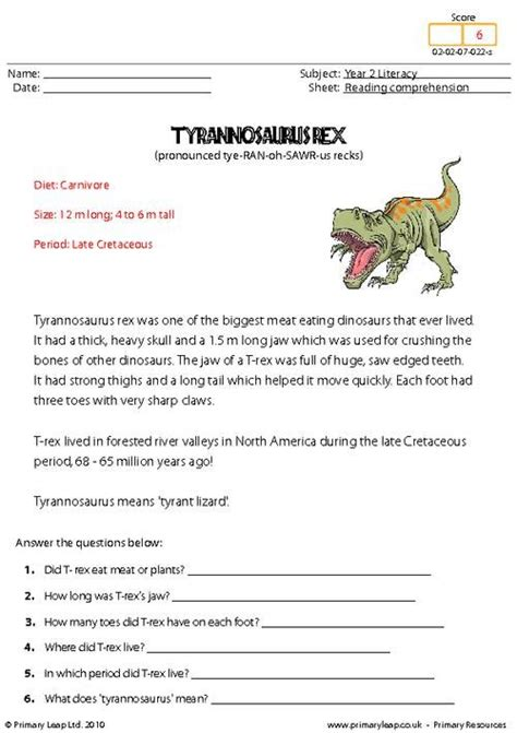 Primaryleapcouk  Reading Comprehension Tyrannosaurus Rex Read The Text And Answer The