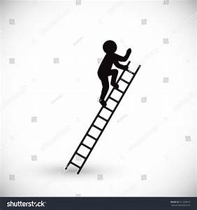 Silhouette Man Climbs Stairs Isolated On Stock Vector ...