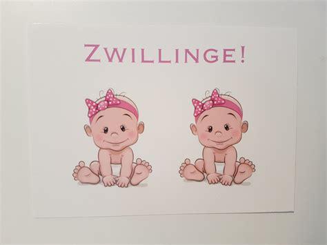 baby geburt glueckwunschkarte zwillinge maedchen ein