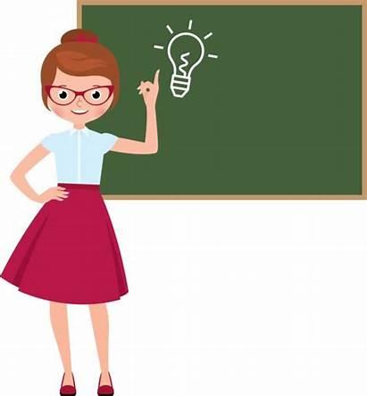 Teacher Cartoon Blackboard Character Vector Spanish Standing