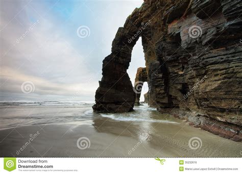 Beach Of The Cathedrals In Ribadeo Spain Royalty Free
