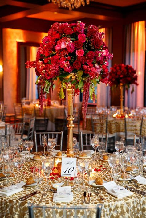 Elaborate Red Rose Centerpiece On Gold Stand Modern