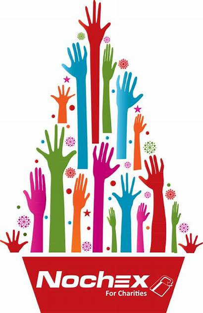 Christmas Tree Charity Hands Colorful Clipart Donation