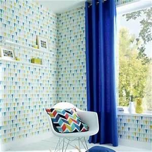 Bleu De Travail Castorama : papier peint vinyle motifs bleu et jaune castorama ~ Dailycaller-alerts.com Idées de Décoration