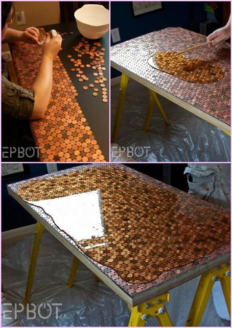 diy penny table  epoxy diycraftsguru