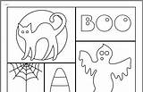 Coloring Halloween Collage Crafts Holiday Kathleen Spooky Collages Colouring Dawe sketch template