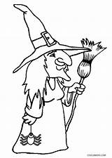 Witch Coloring Pages Printable Witches Hat Broom Halloween Cat Cool2bkids Getcoloringpages Getcolorings sketch template