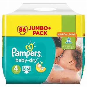 Pampers Baby Dry Nappies 86pk - Size 4 | Baby - B&M