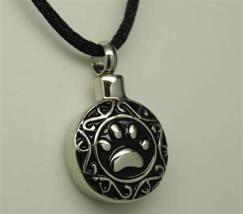paw cremation urn necklace paw print pet urn paw urn