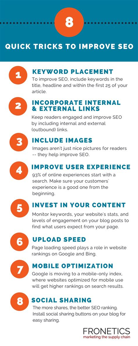 increase seo infographic 8 tips to improve seo for your
