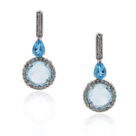 18k white gold blue topaz drop dangle earrings