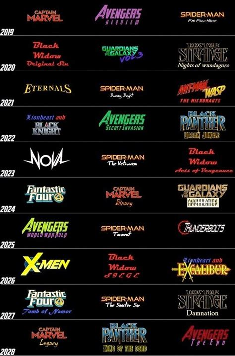 mcu fan  schedule upcoming marvel movies future