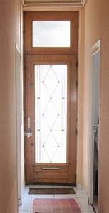 Photo Porte d'entrée vitrée en bois Démentions porte sa