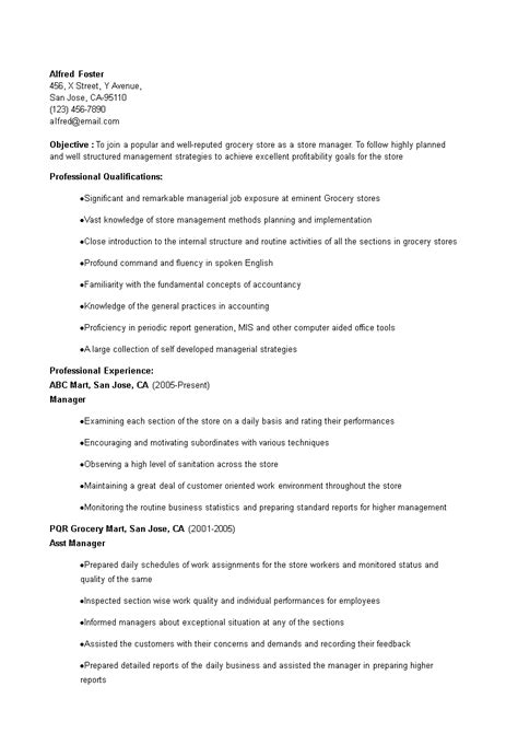 Resume For A Grocery Store by Grocery Store Manager Resume How To Create A Grocery