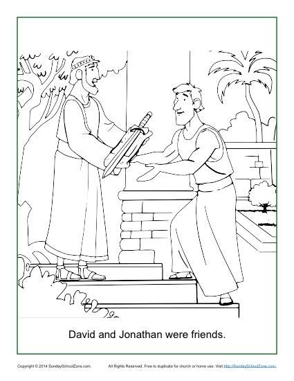 david  jonathan  friends coloring page childrens