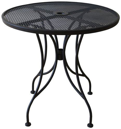 round metal outdoor table oak street manufacturing od24r round black mesh top