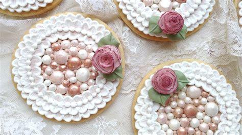 decorate cookies  royal icing pearls  brush