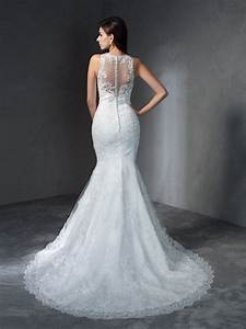 trumpet mermaid scoop applique sleeveless long lace With hebeos wedding dresses