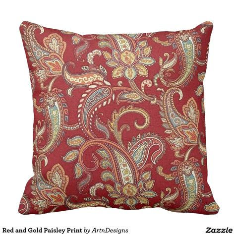 red  gold paisley print throw pillow home decor