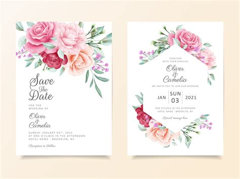 Beautiful wedding invitation card template set Download