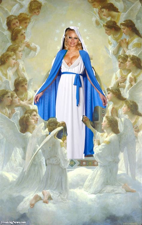 pamela anderson performs  virgin mary pictures