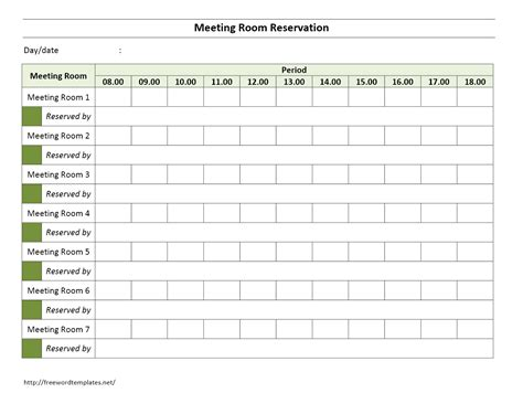 Conference Room Reservation Template meeting room reservation form