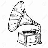 Phonograph Sketch Gramophone Record Player Drawing Retro Illustration Clipart Vector Vinyl Doodle Depositphotos Drawings Antique sketch template