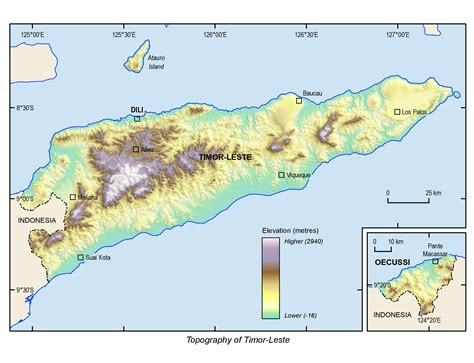 Topographic Map East Timor