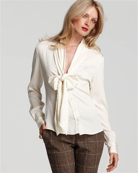 tie blouse zoe sleeve plunge tie collar blouse