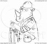 Rhino Outline Coloring Holding Pipes Royalty Clipart Illustration Rf Bannykh Alex 2021 sketch template