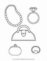Coloring Pages Bracelet Purse Necklace Printable Pearl Ring Heart Diamond Necklaces Coin Bracelets Stylish Jewelry Jewellery Earrings Wedding Enjoy Floating sketch template