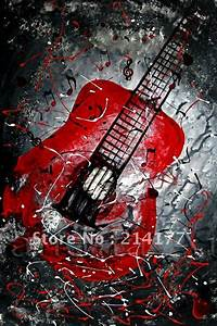 Free-shipping-100-handpmade-guitar-canvas-oil-painting
