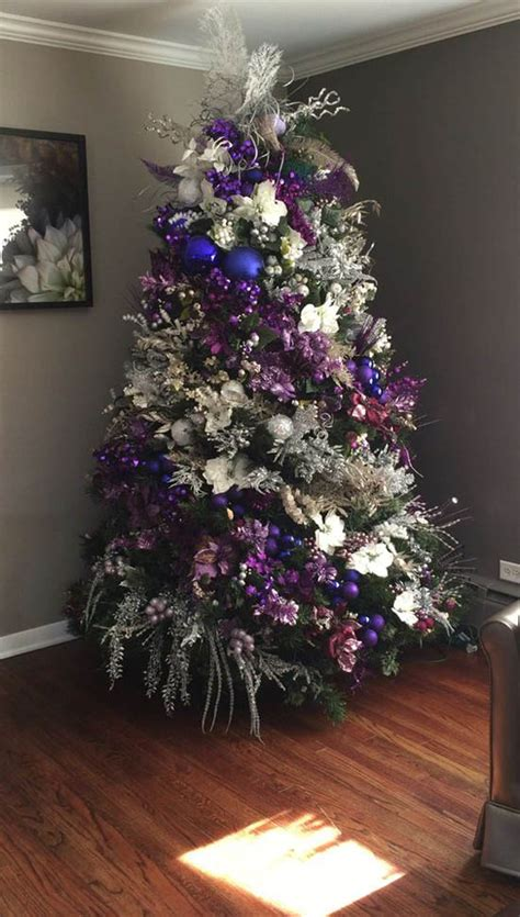 purple decorated christmas trees white christmas tree with purple decorations www 5322