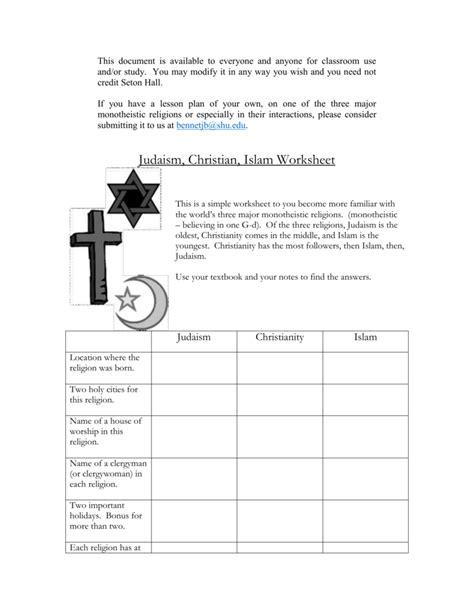 Monotheistic Religions Worksheet