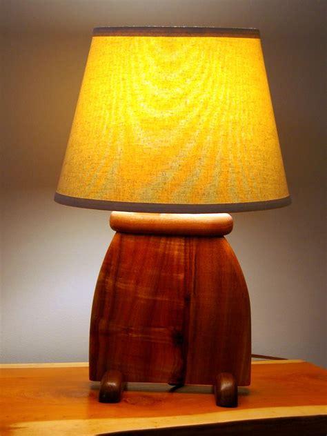 hand  hawaiian koa wood art deco slab table lamp